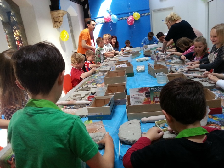 My birthday party. making things out of clay!
